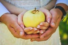 Ręki trzyma pierścionki na jabłku Zdjęcia Stock