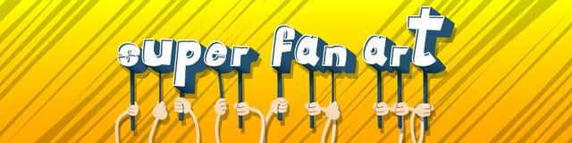 Ręki trzyma słowa fan Super sztukę ilustracji