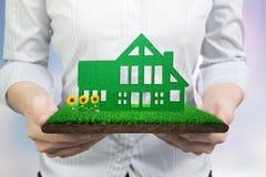 Ręki trzyma zielonego dom na trawy ziemi z borowinowymi słonecznikami zdjęcia stock