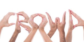 Ręki tworzą słowo tłumu Obraz Royalty Free