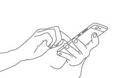 Ręki używać smartphone Obrazy Royalty Free