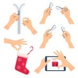 Ręki unzipping suwaczek Ręka z szkłami, boże narodzenie skarpeta ilustracji