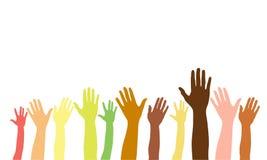 Ręki up różne rasy, kolory, narodowości Wektor odizolowywająca ręki sylwetka na białym tle ilustracji