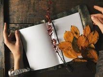 Ręki utrzymania notatnik z białymi czystymi prześcieradłami na drewno stole Jesień liście, grżą kolory, rocznik tekstura Copyspac Obrazy Stock