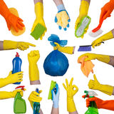 Ręki w gumowych rękawiczkach robi sprzątaniu Zdjęcie Royalty Free