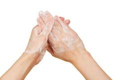 Ręki w pianie mydło zdjęcie stock