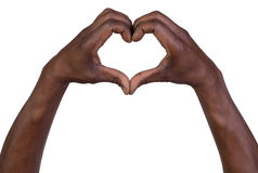 Ręki w postaci serca odizolowywającego na bielu Fotografia Royalty Free