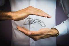 Ręki w przedpolu z pieniądze Zdjęcia Royalty Free