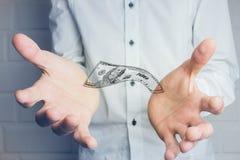 Ręki w przedpolu z pieniądze Obrazy Stock
