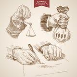 Ręki ważą pieniądze writing rytownictwa lineart wektoru rocznika Zdjęcia Royalty Free