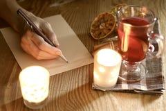 Ręki writing boże narodzenia Fotografia Stock