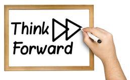 Ręki Writing myśli Przedni Czarny markier Whiteboard Obraz Stock