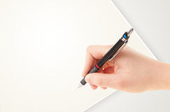 Ręki writing na równiny papierowej kopii pustej białej przestrzeni Fotografia Stock