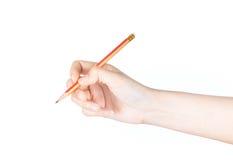 Ręki writing odizolowywający na białym tle. Obrazy Stock