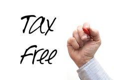 Ręki Writing 'podatek Bezpłatny' Fotografia Stock