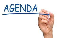 Ręki writing słowa agenda Zdjęcie Stock