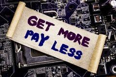 Ręki writing teksta podpisu inspiraci seans Dostaje Więcej wynagrodzeniu Less Biznesowy pojęcie dla budżeta sloganu pojęcia Pisać Fotografia Stock