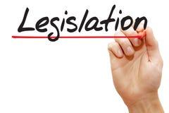 Ręki writing ustawodawstwo, biznesowy pojęcie fotografia royalty free