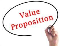 Ręki writing wartości propozycja na przejrzystej desce Fotografia Stock