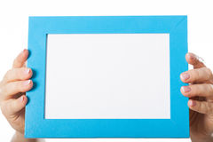 Ręki z błękit ramą dla teksta Obraz Royalty Free