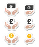 Ręki z funtowym banknotem, mennicze ikony ustawiać Obrazy Stock