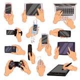 Ręki z gadżet ręki mienia kamery lub telefonu wektorowy ilustracyjnym ustawiającym charakter pracuje na cyfrowym przyrządu laptop ilustracja wektor