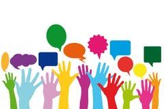 Ręki z mową gulgoczą jako ogólnospołeczny medialny pojęcie Zdjęcia Royalty Free