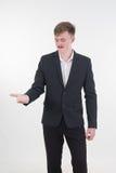 ręki z powrotem tła biznesowy businessmanwith dawać szczęśliwy ręka mężczyzna ręka prezentaci seans strona ręka biały ty młody Obrazy Stock