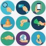 Ręki z przedmiot ikonami ustawiać, Płaska projekta wektoru ilustracja Obraz Stock
