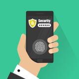 Ręki z smartphone otwierającym z odcisku palca hasła i guzika powiadomieniem wektor, telefon komórkowy ochrona Obraz Royalty Free