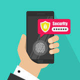 Ręki z smartphone otwierającym z odcisku palca hasła i guzika powiadomieniem wektor, telefon komórkowy ochrona Zdjęcia Stock