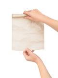 Ręki z starym papierem Obrazy Stock