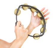 Ręki z tambourine (ręki bawić się tambourine) Obraz Royalty Free