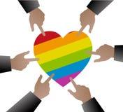 Ręki zaludniają używają wskazywać homoseksualista flaga na kierowym kształcie ilustracja wektor