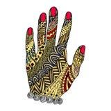 Ręki zen gmatwanina, zen doodle Ręka tatuaż Obrazy Royalty Free