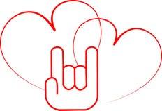 Ręki znaka miłość i dwa serca Zdjęcie Royalty Free