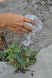 Ręki zrywania plastikowy worek na ziemi ja był wchodnim sposobem save świat Obraz Royalty Free
