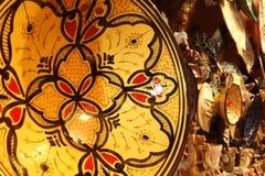 Rękodzieła, pamiątki, Marokańscy produkty Pamiątkarski sklep w Maroko Zdjęcie Stock