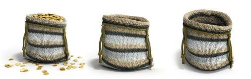 Rękodzieło handmade dziewiarska mała torba 3d odpłaca się na bielu royalty ilustracja
