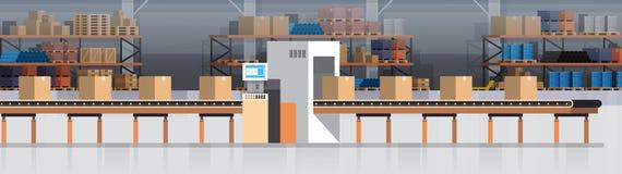 Rękodzielniczy Magazynowy konwejer, Nowożytnej zgromadzenie linii produkcyjnej konwejeru Przemysłowa produkcja ilustracja wektor