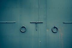 Rękojeści, rygiel i kluczowy kędziorek zielony kruszcowy drzwi, Obrazy Royalty Free