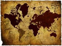 rękopiśmiennej mapy stary świat fotografia stock