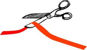 rżnięci czerwoni tasiemkowi nożyce Zdjęcia Stock