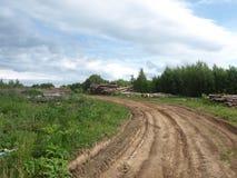 Rżnięci drzewa blisko Rosyjskiej wioski Fotografia Stock