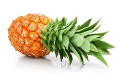 rżnięta świeżej owoc zieleń opuszczać ananasa zdjęcie stock