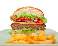 rżnięta cheeseburger połówka Obraz Stock