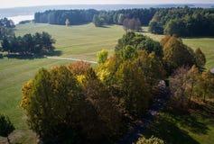 Rżnięte łąki z kolorowymi drzewami obraz stock