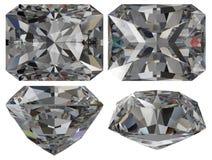 rżnięty diamentowy szmaragd odizolowywał Zdjęcia Stock