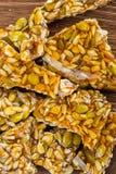 Rżnięty kozinaki robić od słonecznikowych ziaren i dyniowych ziaren Zdjęcie Stock