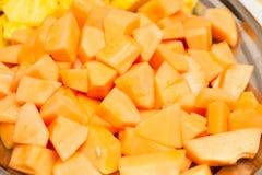 Rżnięty melon słodki stół na ślubu lub wydarzenia przyjęciu Fotografia Royalty Free